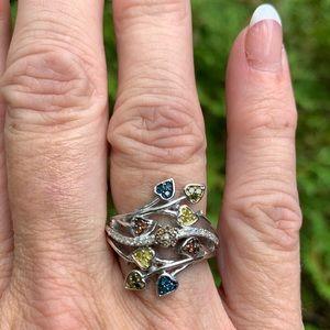 NWT Italian Designer Ring Multi Diamond Ring